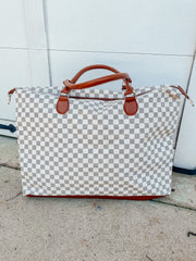 Checkered Overnight Bag: White