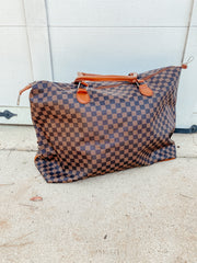 Checkered Overnight Bag: Brown