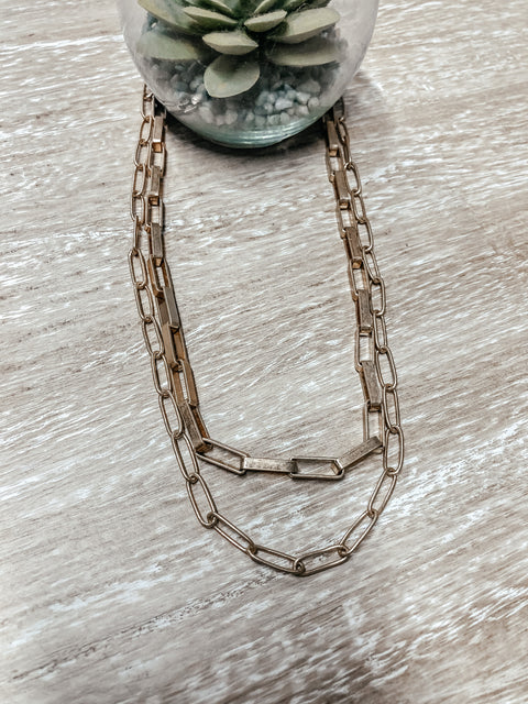 2 Row Oval Link Chain Necklace - Shop Amour Boutique Online