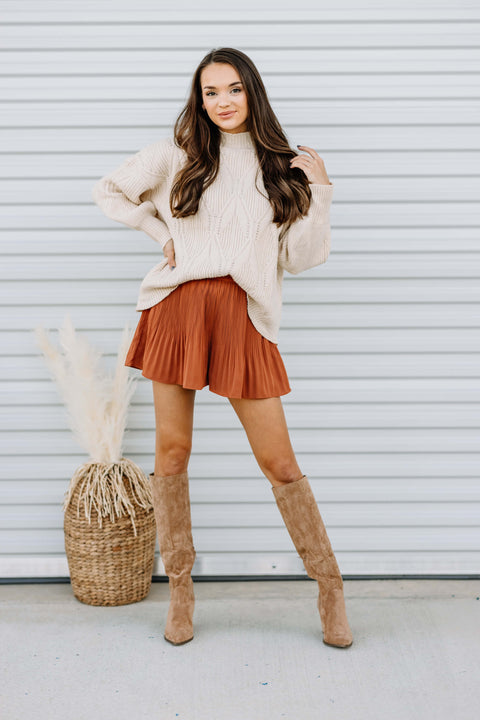 Pleats to Meet You Shorts: Rust