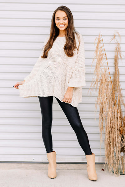Fall in Love Oversized Sweater: Ecru
