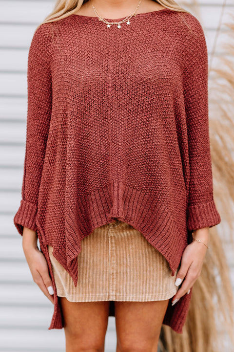 Oh Happy Days Knit Sweater: Cinnamon