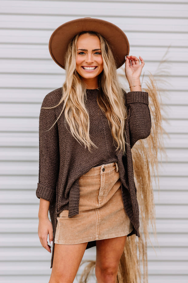 Oh Happy Days Knit Sweater: Ash Brown