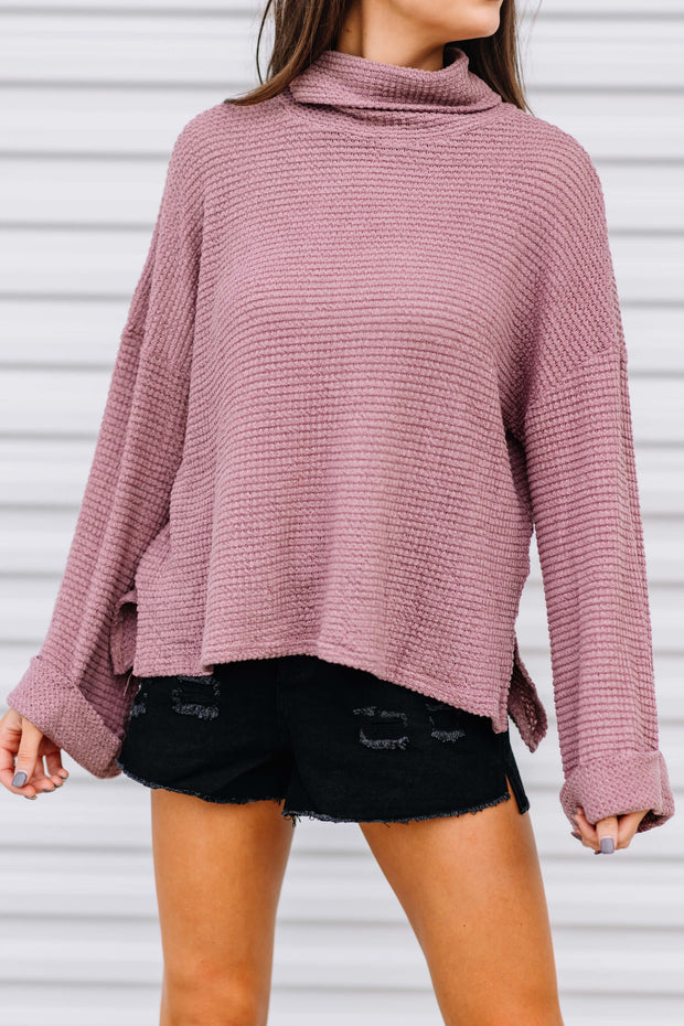 Gotta Run Turtle Neck Waffle Top: Red Bean