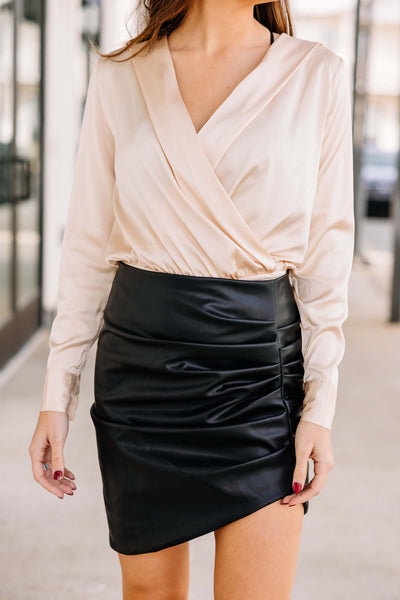 By My Side Faux Leather Skirt: Black