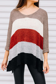 All Day Everyday Sweater Stripe: Mocha/Brick