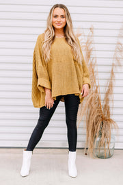 Fall in Love Oversized Sweater: Mustard