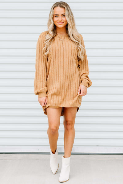 Fall Vibes Ribbed Sweater Dress