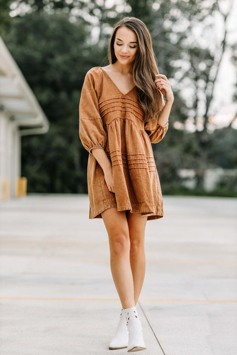 Perfect Autumn Dress: Caramel - Shop Amour Boutique Online