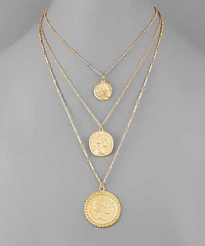 3 Layer Coin Necklace - Shop Amour Boutique Online