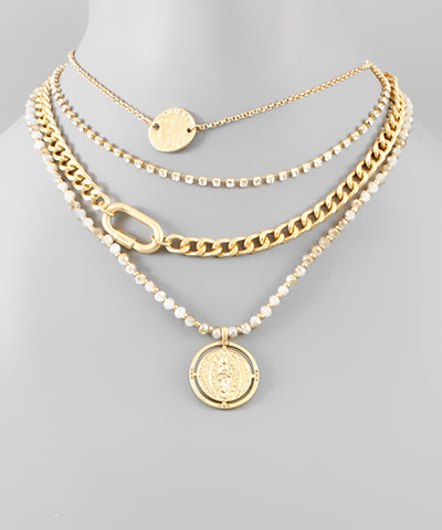 Coin & Chain Layer Necklace