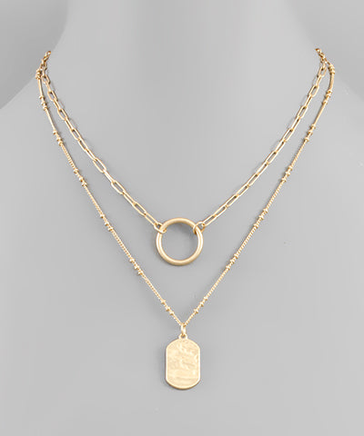 Circle & Tag layer necklace - Shop Amour Boutique Online