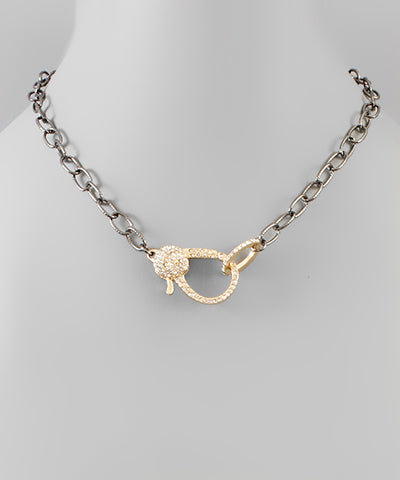 Paved Lobster Link Chain Necklace - Shop Amour Boutique Online