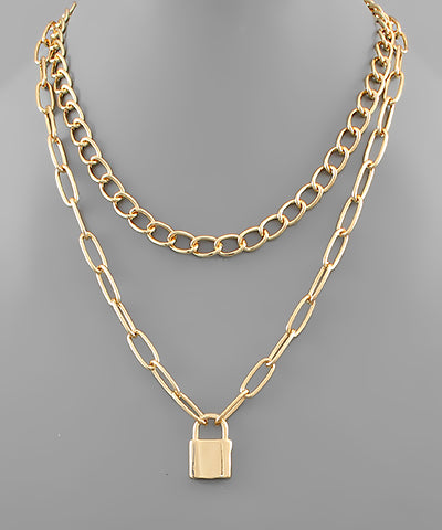 Lock Pendant Layered Chain Necklace - Shop Amour Boutique Online