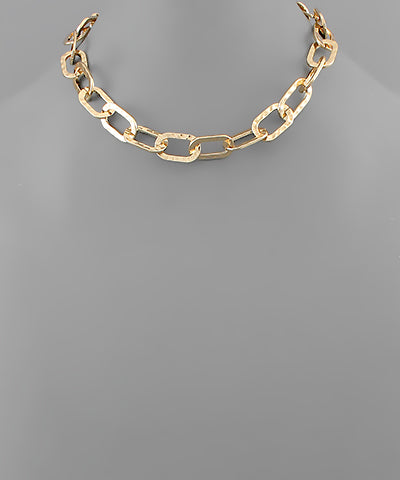 Hammered Flat Chain Necklace - Shop Amour Boutique Online