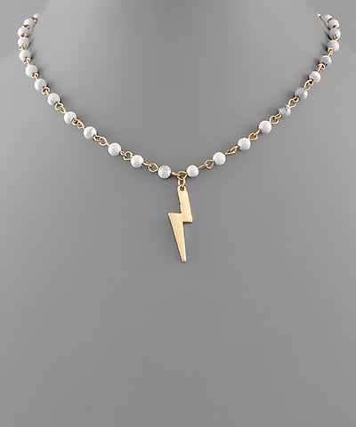 Lightning Bolt Charm Stone Necklace - Shop Amour Boutique Online