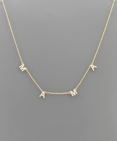 CZ MAMA Letter Necklace