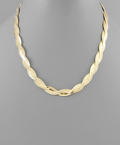 Brass Braided Snake Chain Necklace