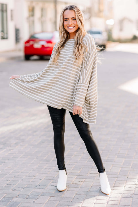 Over You Oversized Knit Tunic: Faded Sage