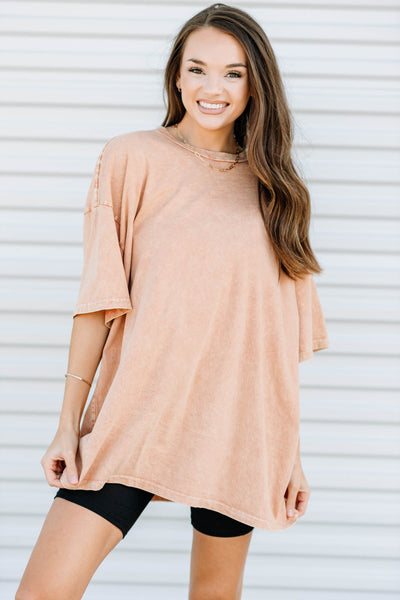 Your Favorite Oversized Tee: Peach - Shop Amour Boutique Online