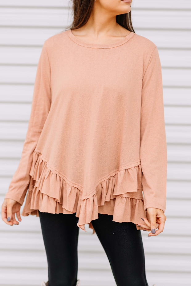Can't Say No Ruffle Tunic: Faded Rust
