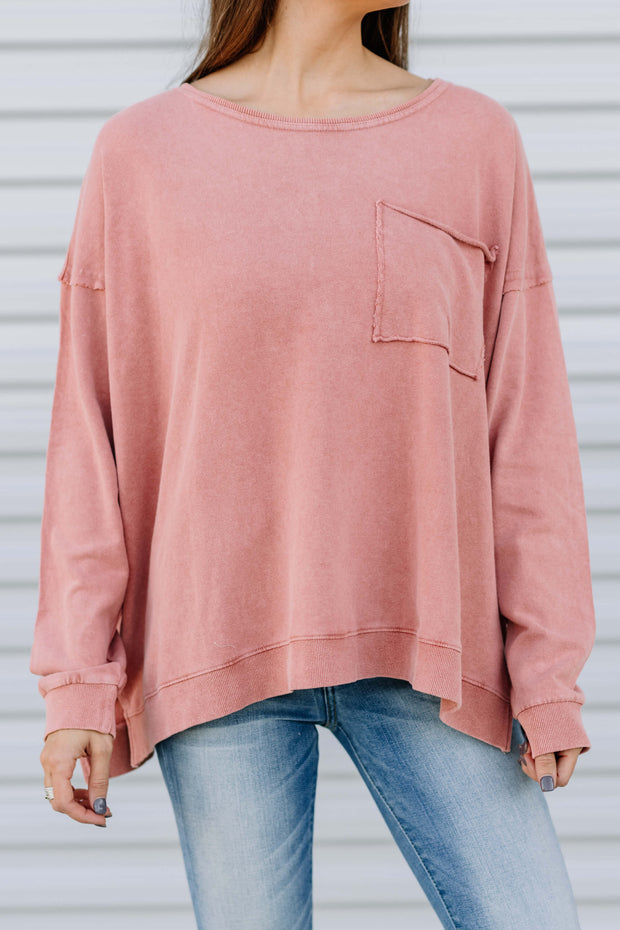 Pocket full of Sunshine Sweater: Coral