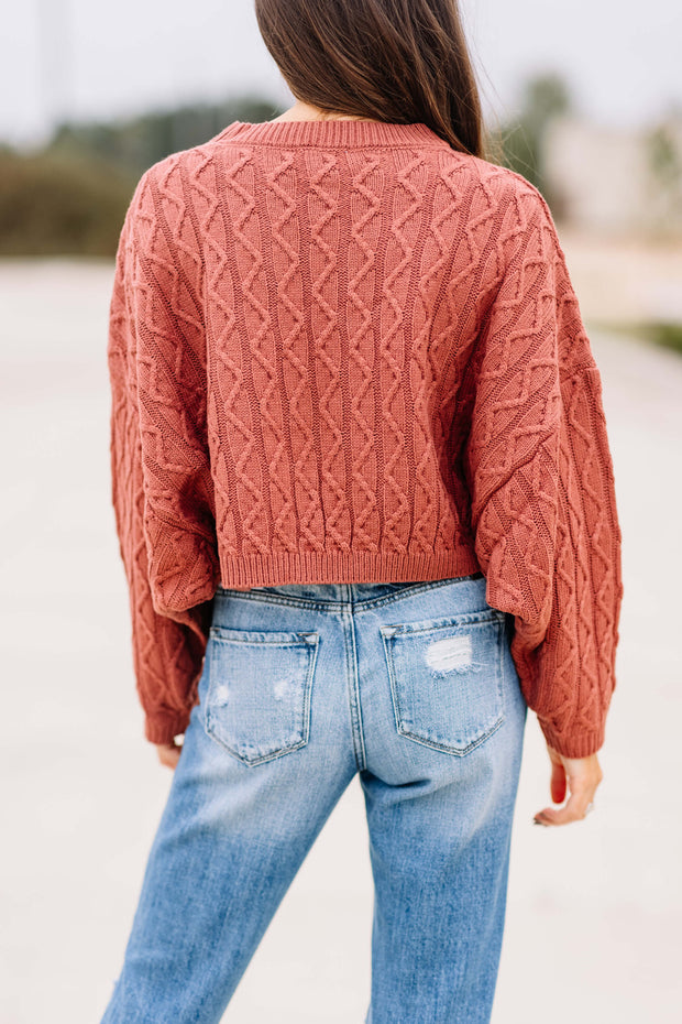 Cinnamon Cable Knit Crop Sweater