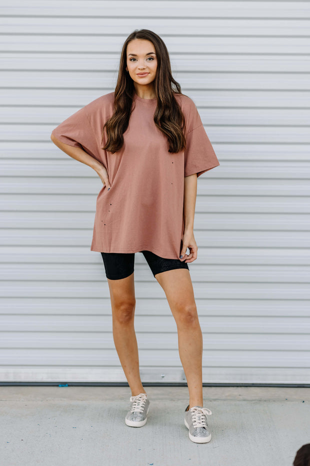 Distressed Oversized Knit Top: Copper