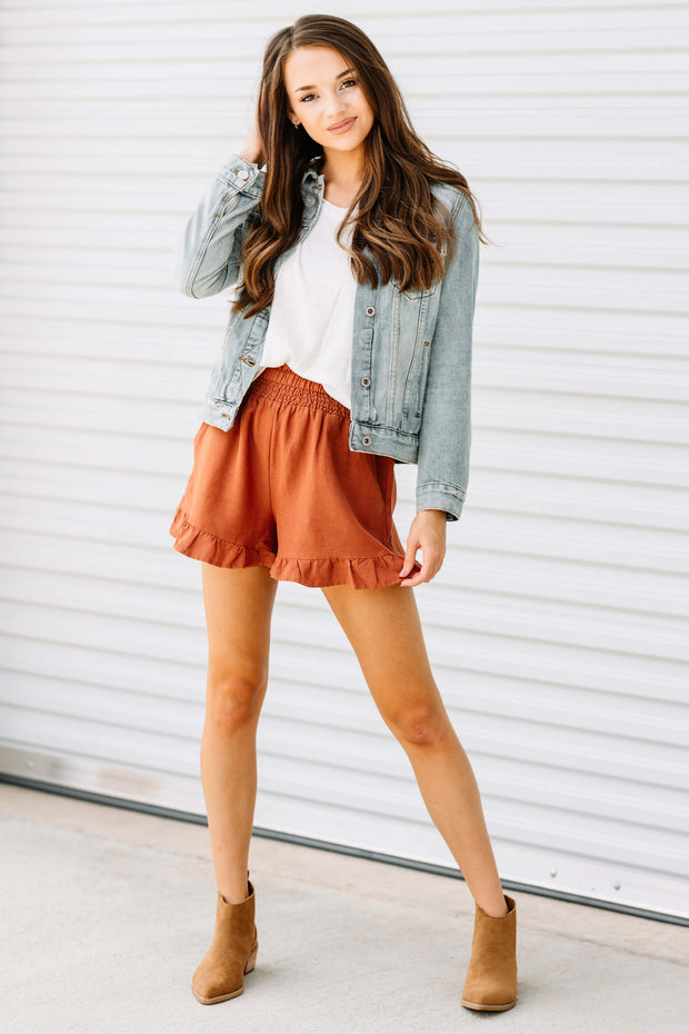Falling for You Rust Ruffle Shorts