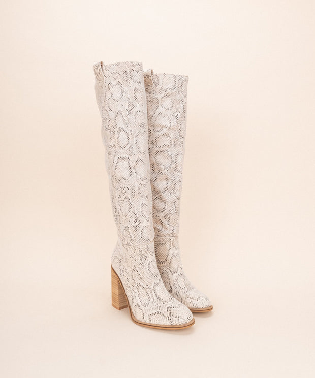 Saint Snake Print Knee High Boot