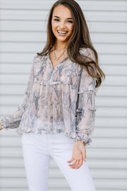 Lovely Ruffle Snake Print Top - Shop Amour Boutique Online