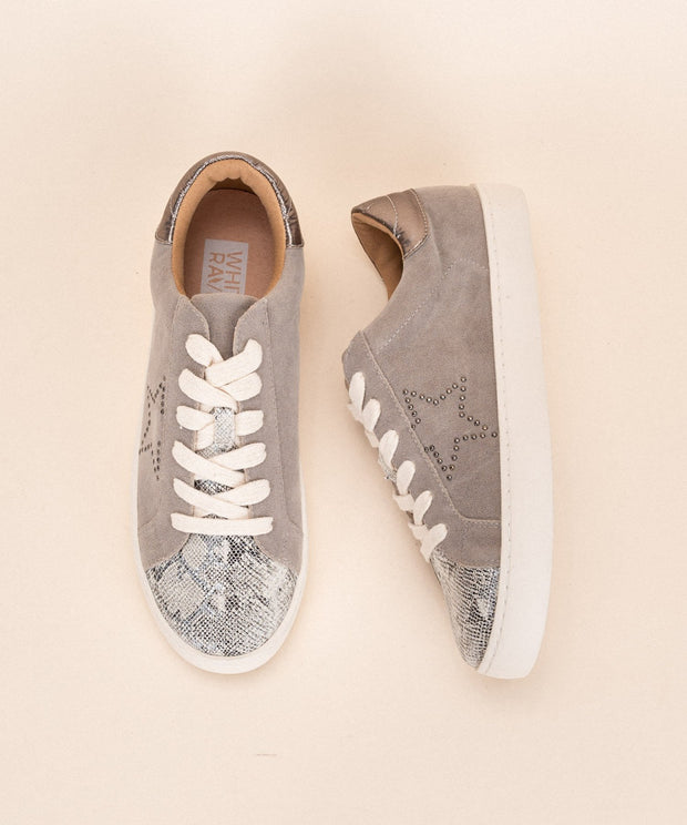 Sterling-Grey Snake print Low top Sneaker - Shop Amour Boutique Online