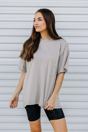 Distressed Oversized Knit Top: Taupe