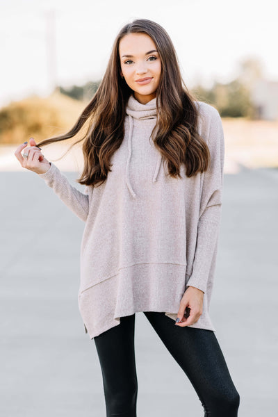 Cozy Nights Thermal Cowl Neck Top: Taupe