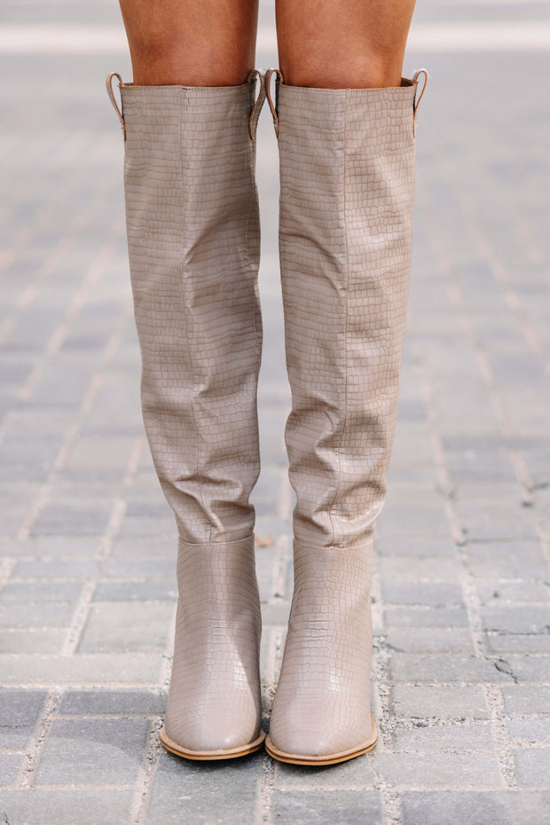 Saint Taupe Croc Knee High Boot