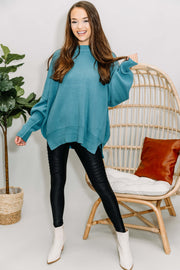 Everywhere You Go Sweater: Dusty Teal