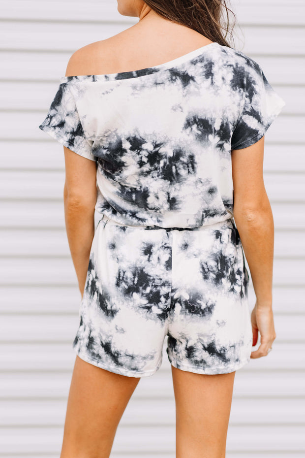 Tie Dye Off the Shoulder Romper
