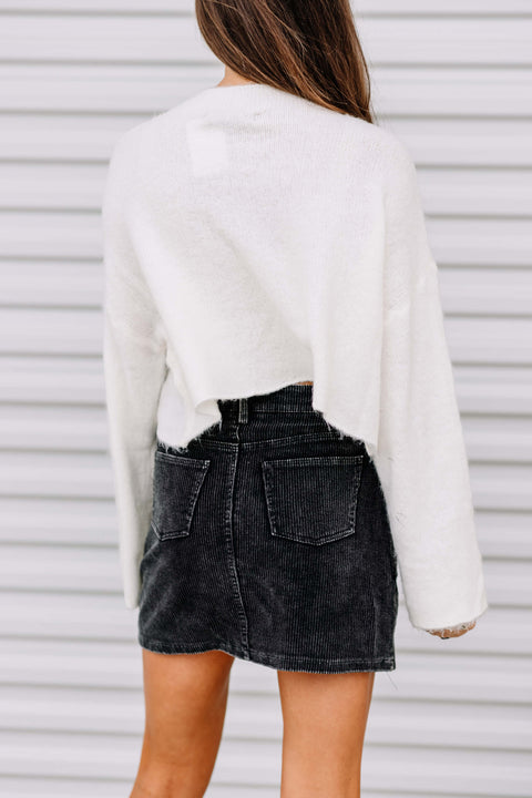 Warm & Fuzzy Cropped Sweater: Ivory