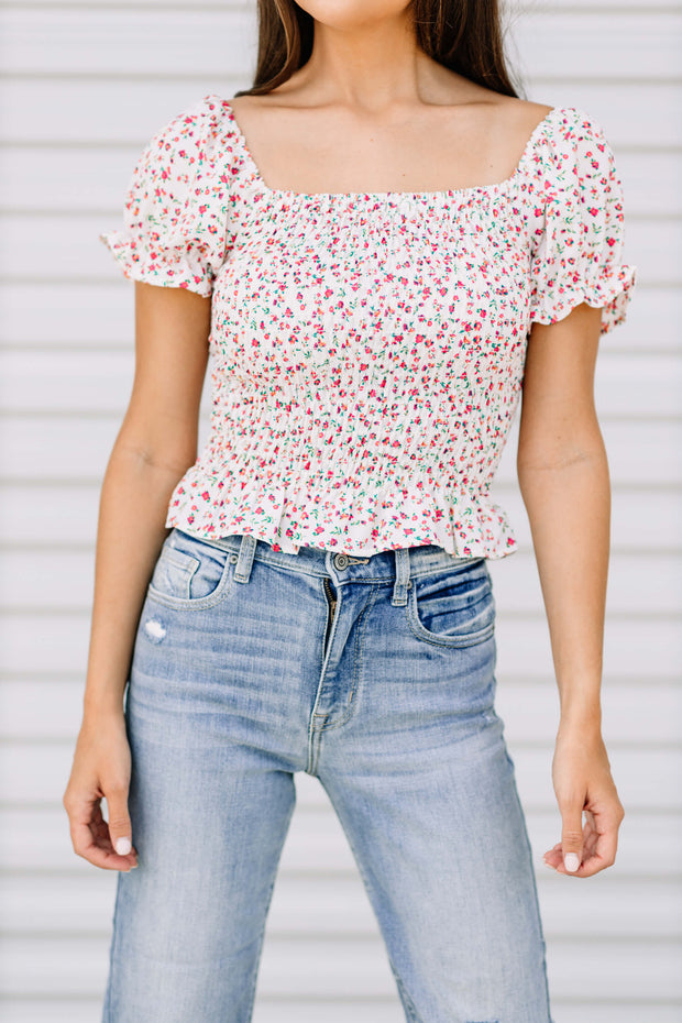 Smocked Floral Top: White - Shop Amour Boutique Online
