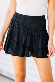 Let's Ruffle Black Skirt
