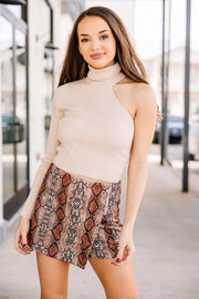 I'm Yours One Shoulder Sweater: Taupe