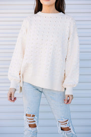 Off We Go Textured Sweater: Ivory