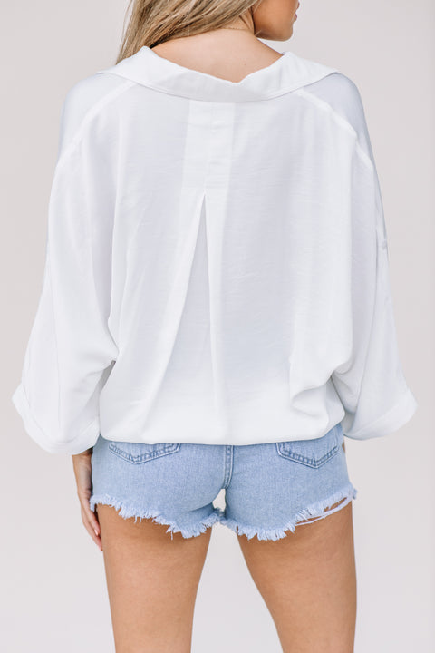 Cute as a Button Top: White - Shop Amour Boutique Online