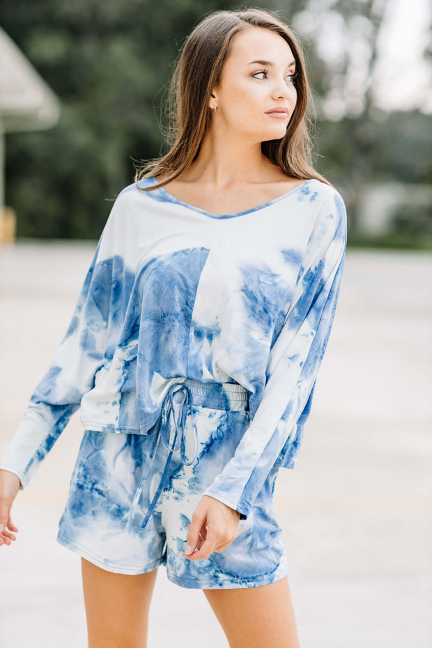 Dreaming of you Blue Tie Dye Lounge Top - Shop Amour Boutique Online