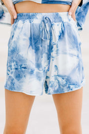 Dreaming of You Blue Tie Dye Lounge Shorts - Shop Amour Boutique Online
