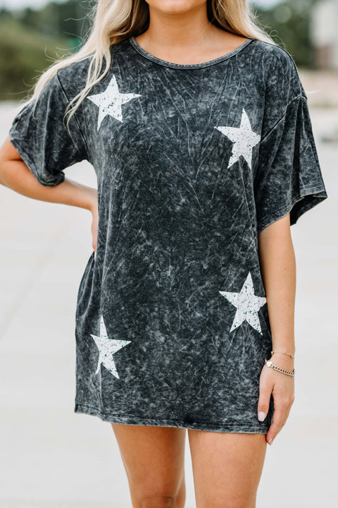 Mineral Washed Stars Graphic Tee Mini Dress