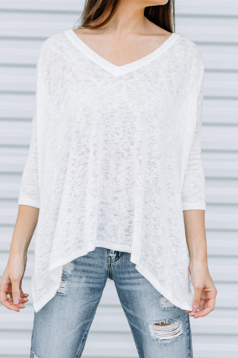 Forever Yours Knit Top: White
