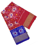 Ruby pink and navy blue silk ikath pavada
