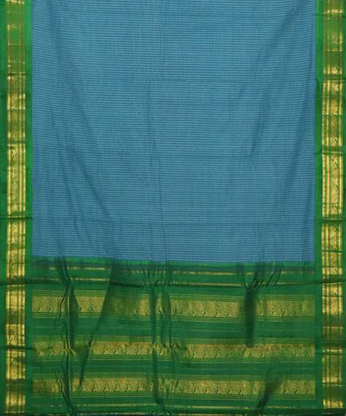Prussian blue color Gadwal cotton saree