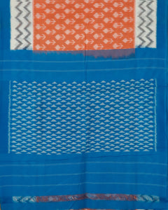 Salmon red color shade pochampally cotton saree